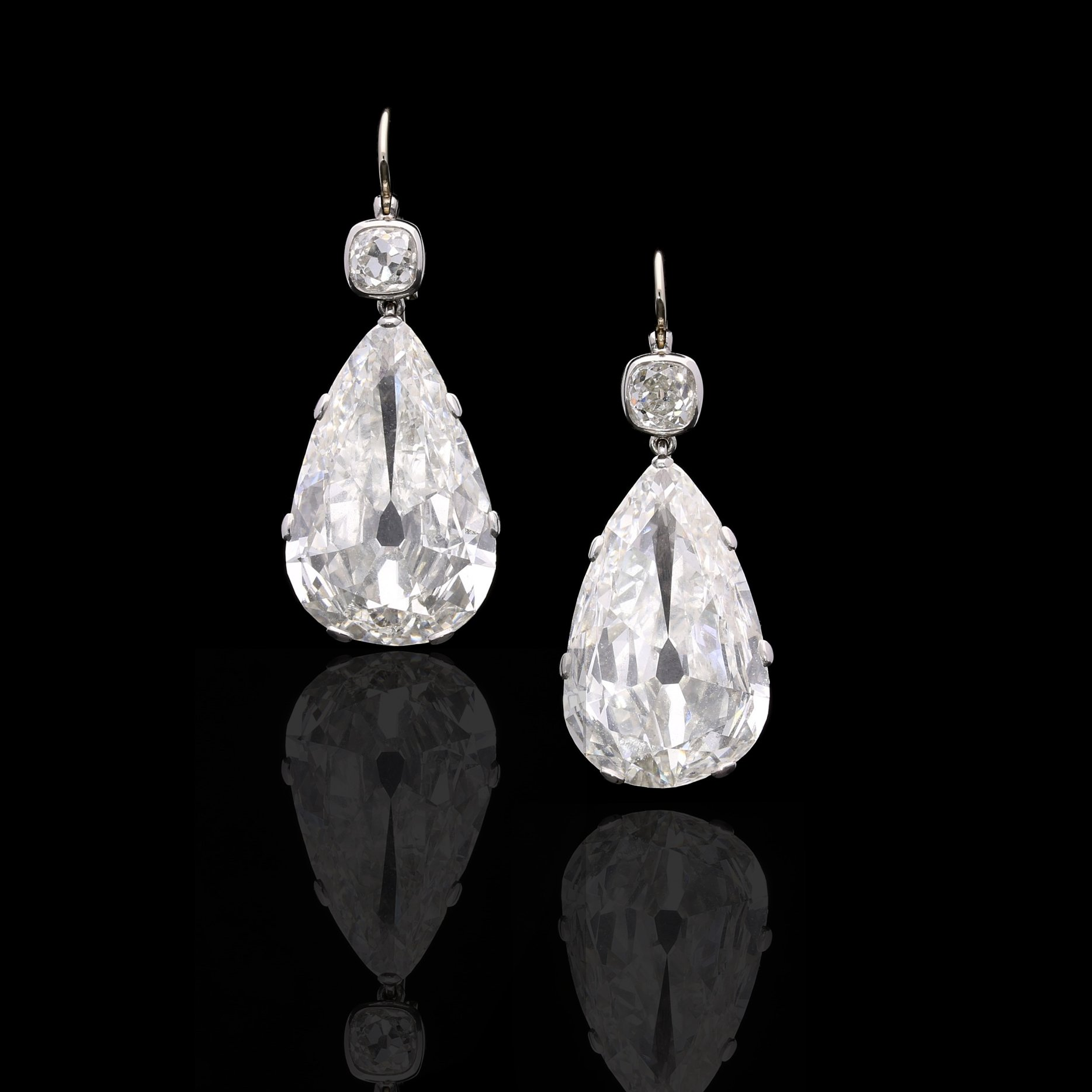 Hancocks Old Mine Pear Shape Diamond Earrings London Jeweller
