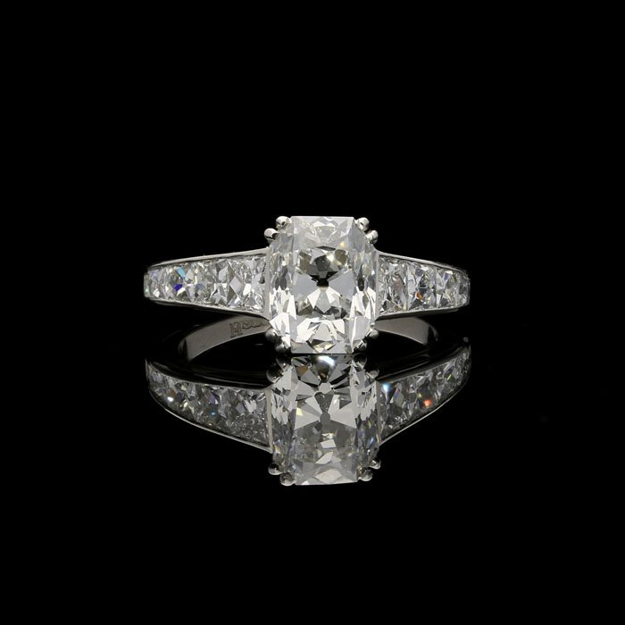 A 2.11ct Rectangular Brilliant and French Cut Diamond Ring