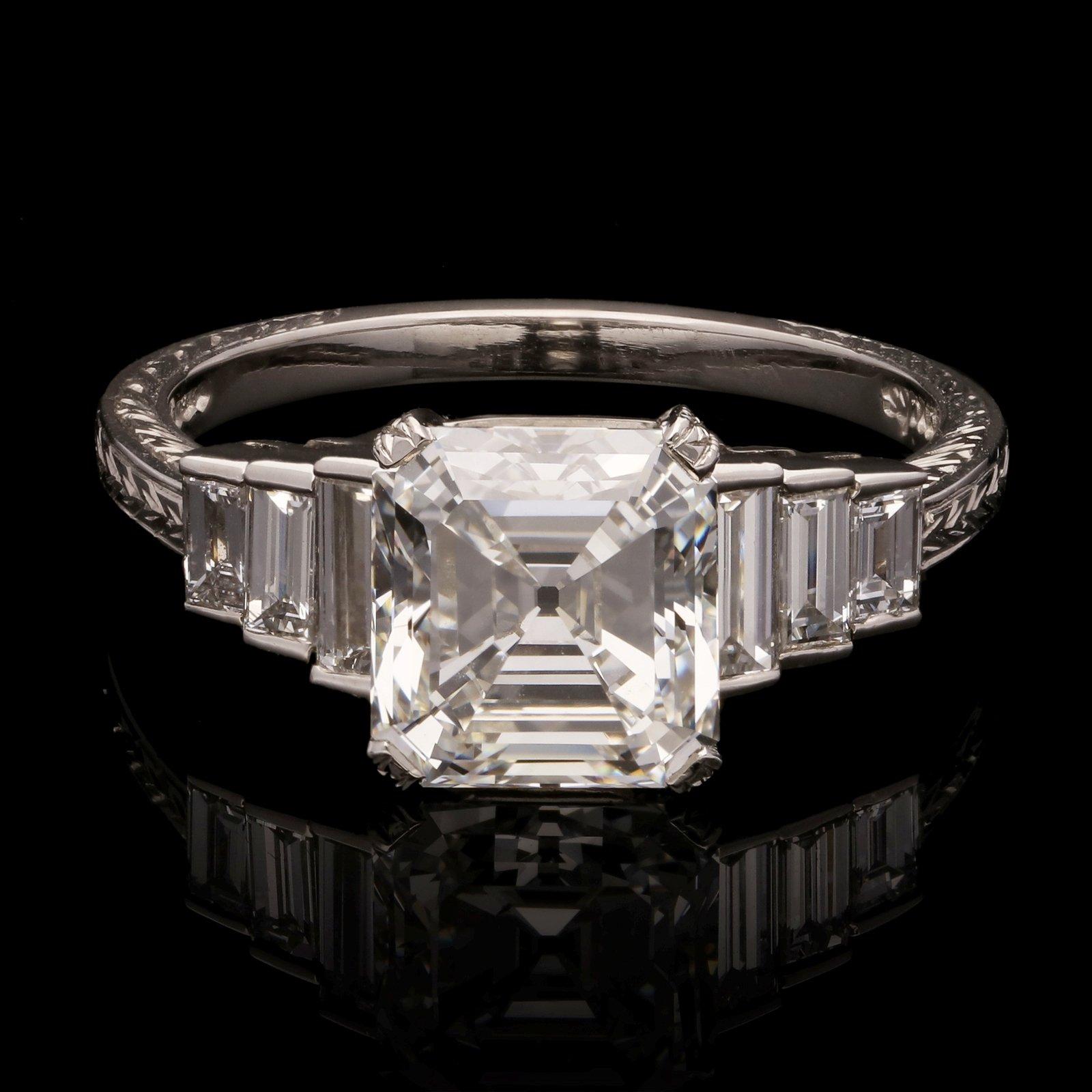 2 45ct Vintage Asscher Cut Diamond Ring Set In Platinum With Baguette Diamond Shoulders Hancocks London