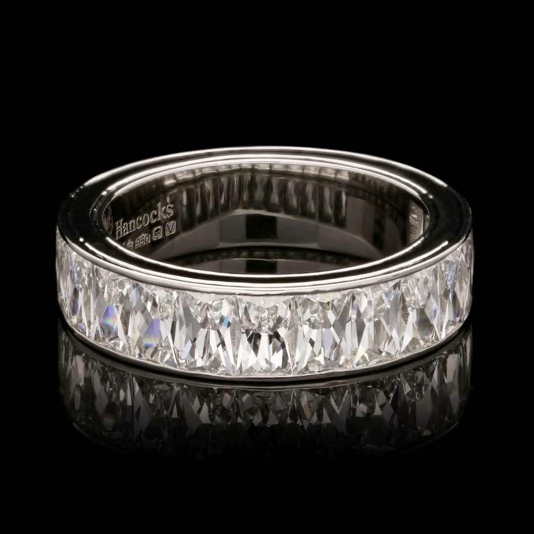 A French Cut Diamond 'North/South' Eternity Ring set in Platinum
