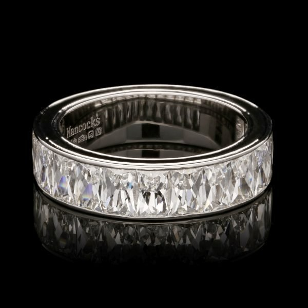 A French Cut Diamond and Sapphire Eternity Ring In Platinum