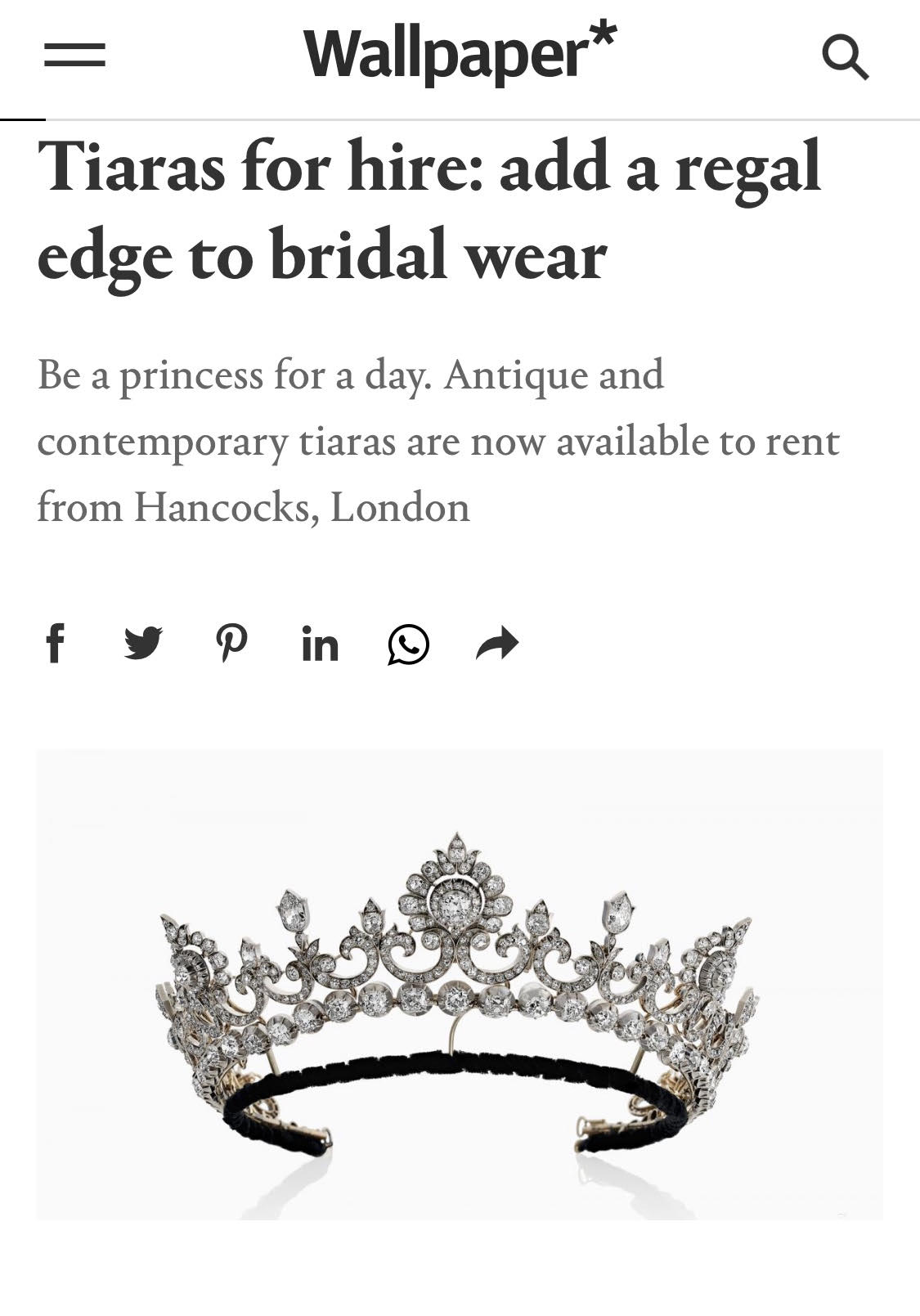 WE SPOKE TO WALLPAPER MAGAZINE ABOUT OUR NEW TIARA HIRE SERVICE